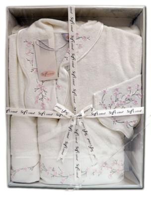 Подарочный набор из махрового халата и 2-х полотенец с вышивкой Ruya (ESC)